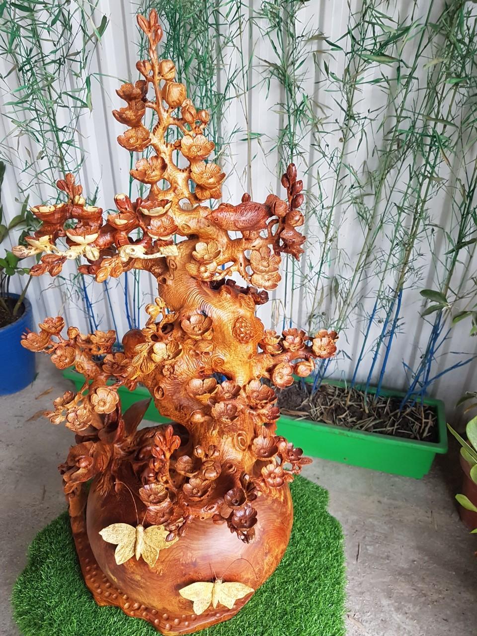 Ý nghĩa bình Bonsai hoa mai gỗ trong phong thủy
