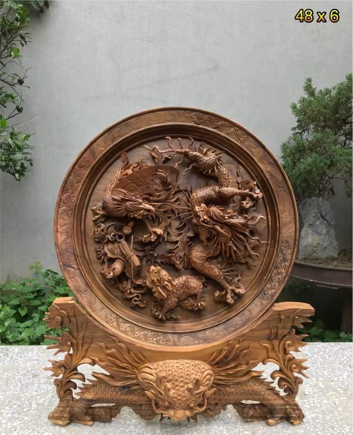 Ý nghĩa của đĩa gỗ Tứ Linh trong phong thủy