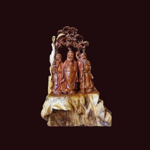 Tượng Tam Đa gỗ cẩm chỉ Gia Lai 89x70x43cm