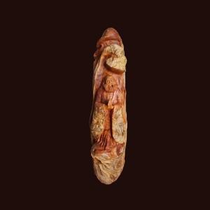 Tượng Đạt Ma gỗ nu pơ mu 74x20x17cm