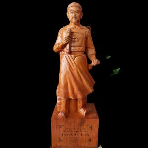 Tượng Trần Hưng Đạo Gỗ Hương Đá 80x26x19cm
