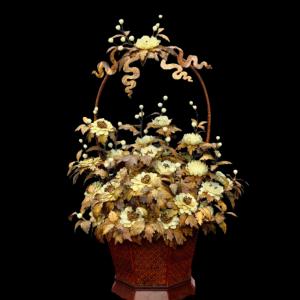 Giỏ Hoa Phù Dung Gỗ Sưa, Ngà Voi, San Hô Đen 58x38x35cm