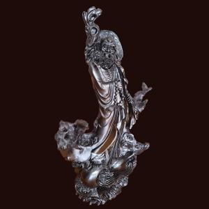 Đạt ma sư tổ quá hải Mun sừng 80x55x29cm