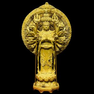 Tượng Thiên Thủ Thiên Nhãn Gỗ Hoàng Đàn 66x40x19cm