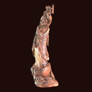 Tượng Đạt Ma quá hải gỗ cẩm chỉ 94x28x14cm