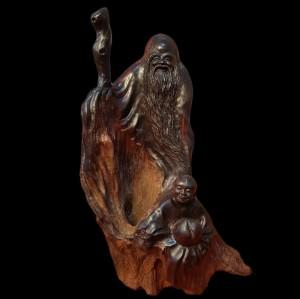 Tượng Ông Thọ Tiên Gỗ Lũa Trắc Đen Gia Lai 35x23x17cm