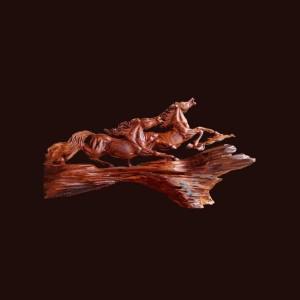 Tượng Song Mã gỗ cẩm chỉ 70x39x23cm