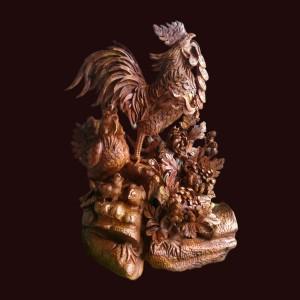 Tượng Gia Đình Gà gỗ Cẩm Lai Kt: 62x46x33cm