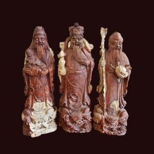 Tượng Tam Đa gỗ cẩm chỉ Gia Lai 50x16x16cm