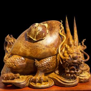Tượng Long Quy Gỗ Nu Hương 35x48x36cm