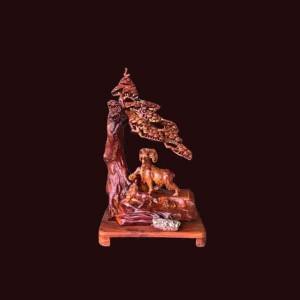 Tượng Tam Dương khai thái gỗ hương 86x52x30cm