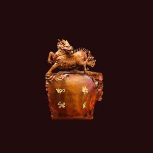 Tượng Long Mã gỗ hương 58x40x18cm