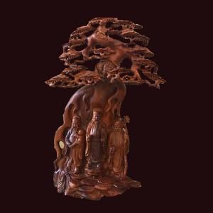 Tượng Tam Đa gỗ hương Gia Lai 102x46x42cm