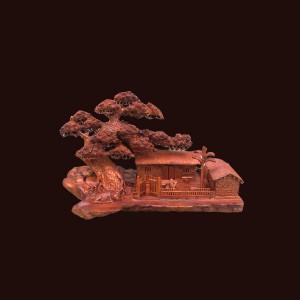 Cây tùng nhà tranh đồng quê gỗ hương Gia Lai 48x65x36cm