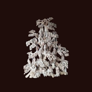 Tượng Thập Bát La Hán nhất Quan Âm gỗ xá xị 310x220x150cm