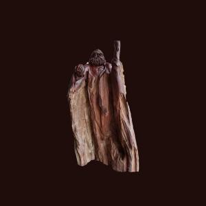 Tượng Đạt Ma gỗ lũa trắc 70x40x11cm