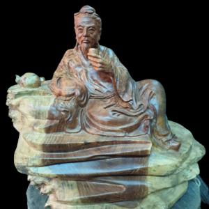 Tượng Thần Trà Gỗ Nu Hương Gia Lai 38x42x30cm