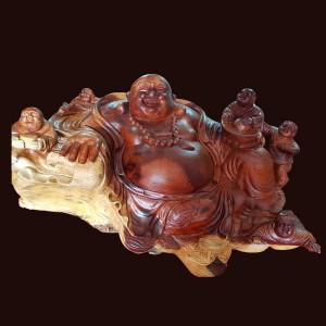 Tượng Di Lặc ngũ phúc gỗ Hương đá cao 48cm