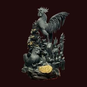 Tượng Gia Đình Gà Gỗ Mun Sừng KT: 81x50x43cm