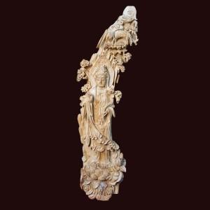 Tượng Quan Âm Đứng Sen Gỗ Ngọc Am 106x28x28cm
