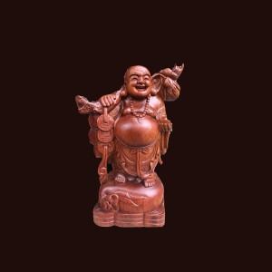 Tượng Di Lặc gỗ hương 50x22x18cm