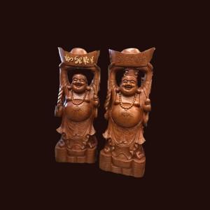 Tượng Di Lặc gỗ hương 80x31x22cm