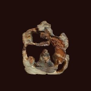Tượng Đạt Ma gỗ trắc Gia Lai 45x40x15cm