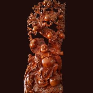 Tượng Di Lặc gỗ Hương đỏ 133x61x30cm