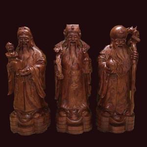 Tượng Tam Đa gỗ hương đá Gia Lai 100x35x32cm