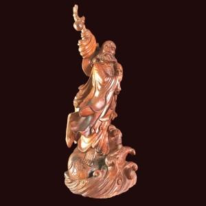 Tượng Đạt Ma quá hải gỗ hương đá Gia Lai 89x36x37cm