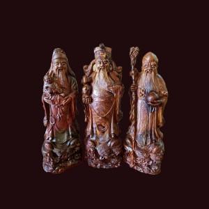 Tượng Tam Đa gỗ cẩm chỉ Gia Lai 50x17x16cm