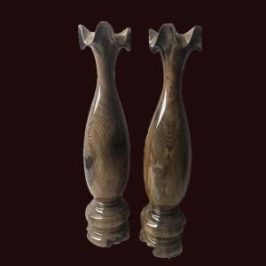 Lộc Bình Tỳ Bà Gỗ Thủy Tùng Đa Sắc 65x15cm