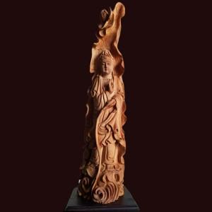 Tượng quan âm gỗ ngọc am 67x16x16cm