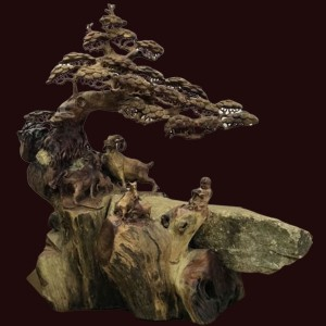 Tượng dê đứng tùng gỗ hương ôm đá 112x106x75cm
