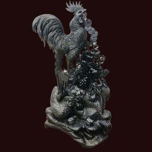 Tượng gia đình gà gỗ mun sừng 96x55x30cm