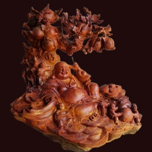 Tượng di lặc ngũ phúc ngồi gốc cây đào gỗ sụn hương 81x77x50cm