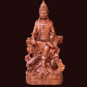Tượng quan âm tự tại gỗ hương 60x30x20cm