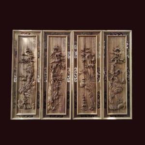 Tranh tứ quý gỗ gụ 107x37x4cm