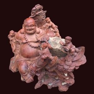 Tượng Di Lặc gỗ hương đá Gia Lai 66x68x68cm