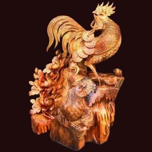 Tượng gia đình gà gỗ hương 85x60x40cm