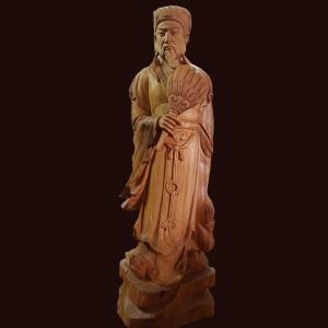 Tượng Khổng Minh gỗ ngọc am 47x15x12cm