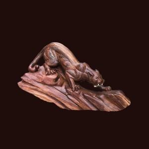 Tượng Báo gỗ cẩm lai 38x60x20cm