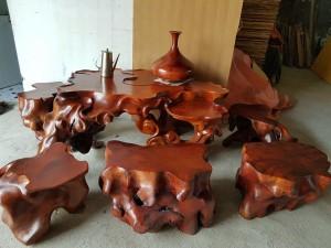 Bộ Bàn ghế gốc cây gỗ Hương đá