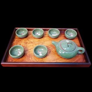 Khay Trà Mặt Sụn Hương Khung Gỗ Trắc 35x22x3cm