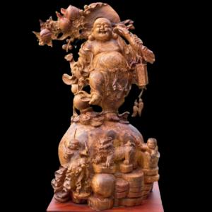 Tượng Phật Di Lặc Đứng Bao Tiền Nu Hương 80x46x30cm