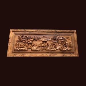 Tranh Vinh quy bái tổ gỗ bách xanh 95x235x10cm