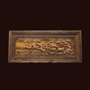 Tranh Bát Mã gỗ bách xanh 68x152x7cm
