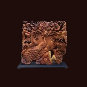Tượng phu thê viên mãn gỗ hương 80x82x10cm