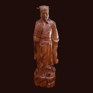 Tượng Khổng Minh gỗ cẩm nhập khẩu 80x25x20cm