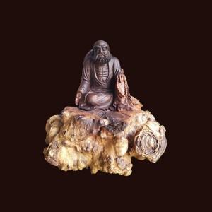 Tượng Đạt Ma gỗ nu chiu liu 47x47x41cm
